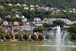 Bergen residences on Mount Floien overlooking Lille Lundegardsvann park and ornamental lake with fountain