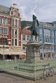 Statue of writer Ludvig Holberg in Vagsallmenningen Square adjacent to Fish Market in central Bergen