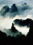 Swirling clouds around the Rock That Flew From Afar in the West Sea (Xihai) of Huangshan (Yellow Mountain) in Anhui province, China
