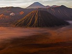 Bromo-Tengger-Semeru National Park viewed at dawn from Mount Penanjakan in East Java, Indonesia, with Mount Bromo crater (left), Mount Batok (rear) and Mount Semeru (front)