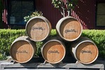 Wine barrel display at Gibbston Valley Winery near Queenstown, New Zealand.