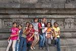 Young Indonesian gilrs at Prambanan Hindu Temple complex near Yogyakarta