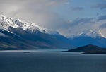 Clouds in early spring over Lake Wakatipu and the mountains near Queenstown, New Zealand