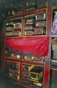 Tibetan Buddhist manuscripts inside Lhasa's Potala Palace library.