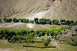 Lhasa Valley of Tibet with trees planted to control erosion