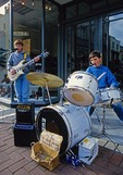 Young musicians busking on Dublin's Grafton Street.