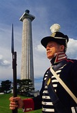 War of 1812 historical re-enactor at Perry Peace Memorial on South Bass Island, Ohio, in Lake Erie.