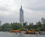 Greenland Financial Centre in Nanjing with Xuan Wu Lake Park in foreground