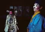 Chou clown and the emperor from &quot;Nunnery of Peace Flower&quot; performed by touring Jiangsu Opera performers from Nanjing on stage in Qufu. 