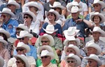 Spectators (white hat club?) at the 100th Anniversary Calgary Stampede 2012.
