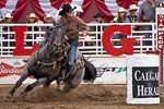 Ladies Barrel Racing action at the Calgary Stampede 2012.