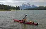 Kayaker on Maligne Lake in Jasper National Park, Alberta