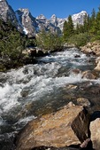 Stream from Moraine Lake in Valley of the Ten Peaks in Banff National Park, Alberta