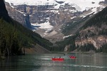 Canoes on Lake Louise, Banff National Park, Alberta.