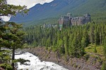 Banff Springs Hotel overlooking the Bow River Falls in Banff National Park, Alberta
