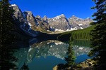 Moraine Lake in Valley of the Ten Peaks in Banff National Park.