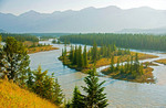 Meandering Athabasca River northeast of town of Jasper in Jasper National Park, Alberta.