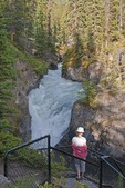 Overlook of Maligne River in upper section of Maligne Canyon in Jasper National Park, Alberta.