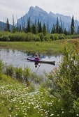 Kayaker on Vermilion Lakes in Banff National Park, Alberta.