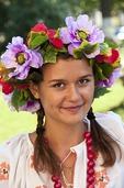 Young unmarried woman in traditional Ukrainian clothing in Kherson, Ukraine.