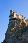 Swallow's Nest Castle overlooking the Black Sea on Aurora Cliff of the Ai-Tudor Cape near Yalta, Crimea, Ukraine.