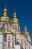 Detail of domes on the Cathedral of the Dormition at the Monastery of Caves in Kiev, Ukraine.