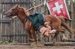 Cossack horseman hanging from saddle at full gallop in Cossack Horse Show on Khortitsa Island near Zaporozhye.