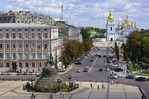 Kiev's Sophia Square with statue of Bohdan Khmelnytsky and Golden-domed St. Michael's Cathedral in background