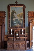 Credenza with painting in room of Aloupka Palace, AKA Vorontsov Castle, near Yalta, Ukraine.