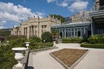 Gardens at Aloupka Palace, AKA Vorontsov Castle, near Yalta, Ukraine.