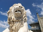Marble lion at Aloupka Palace, AKA Vorontsov Castle, near Yalta, Ukraine.