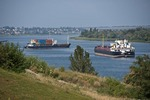 Freighters on Dnieper River near Kherson, Ukraine.
