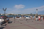 Promenade along Sevastopol waterfront near Monument to Lost Ships.
