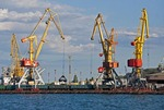 Port of Odessa cranes for loading ships