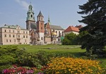 Royal Wawel Castle garden with Wawel Cathedral in Krakow, Poland