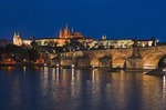 Prague Castle, St. Vitus Cathedral, Charles Bridge and Vltava River at night