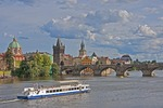Old Town Prague and Charles Bridge on Vltava River.