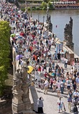 Prague's Charles Bridge crowded with pedestrians