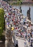 Prague's Charles Bridge crowded with pedestrians