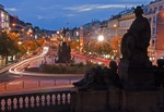 Wenceslas Square from National Museum steps at night in Prague