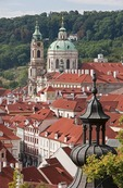 Rooftops of Prague's Lesser Town (Mala Strana) looking toward dome of St. Nicholas Cathedral