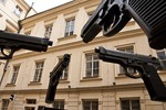 Guns statue by artist David Cerny at Prague's Artbanka Museum of Young Art in Stare Mesto