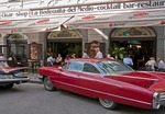 Classic 60s cars at Prague's La Bodeguita del Medio named after the Havana restaurant popular with Ernest Hemingway