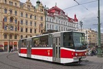 Modern Prague tram in Old Town