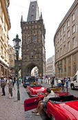 Classic cars for sightseeing in Old Town Prague near Powder Tower gate