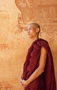Portrait of a young Buddhist monk in Bagan, Myanmar (Burma)