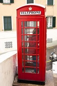 British style red telephone booth in Gibraltar.