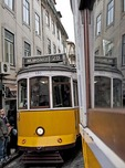 Number 28 tram in Baixa district of Lisbon.