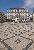 Placa Luis de Camoes Square in Chiado district of Lisbon with decorative tile work.