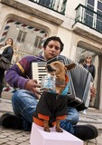 Lisbon street musician with his tip-collector dog.